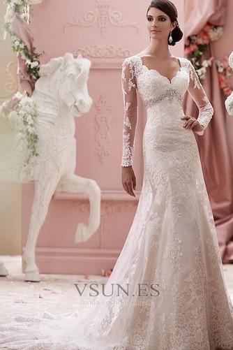 Vestido de novia Invierno Escote sexy Cinturón de cuentas Triángulo Invertido - Página 1