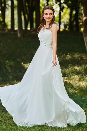 Vestido de novia Romántico Natural Escote en V largo Botón Sin mangas - Página 2