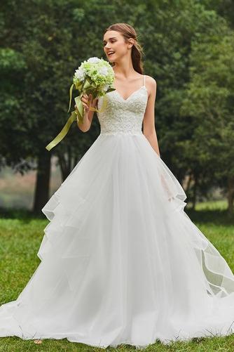 Vestido de novia Escote de Tirantes Espaguetis Natural tul Cola Capilla - Página 1