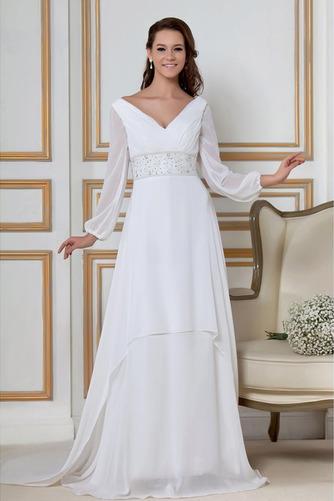 Vestido de novia Natural largo Dobladillos Corte-A Cremallera Escote en V - Página 1