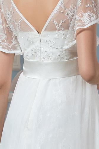 Vestido de novia Asimètrico Escote en V Fuera de casa Fajas Asimétrico Dobladillo - Página 4