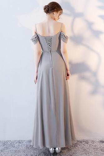Vestido de dama de honor Natural Corte-A Blusa plisada Escote en V Sin mangas - Página 4