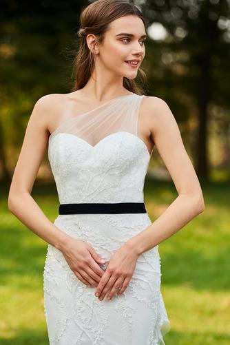 Vestido de novia Moderno Sin mangas Natural Un sólo hombro Lazos Encaje - Página 4
