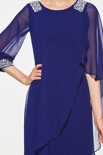Vestido de madrina primavera Moderno Triángulo Invertido Natural Gasa - Página 4
