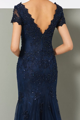 Vestido de noche tul Moderno Corte Recto Capa de encaje Escote en V - Página 4