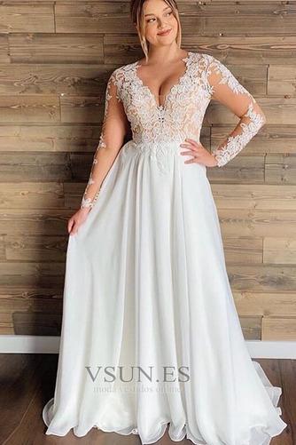 Vestido de novia Playa Mangas Illusion Manzana Corte-A Pura espalda - Página 1