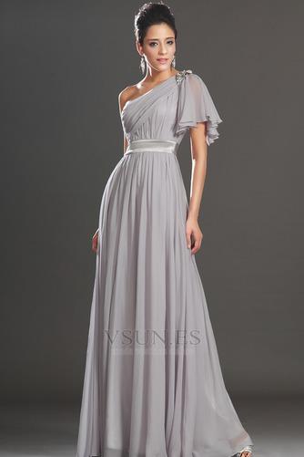 Vestido de noche Elegante Verano Drapeado Hasta el suelo Corte-A Gasa - Página 3