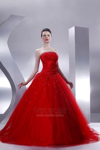 Vestido de quinceañeras Sin tirantes Rojo tul Invierno Cola Capilla Con lentejuelas - Página 3