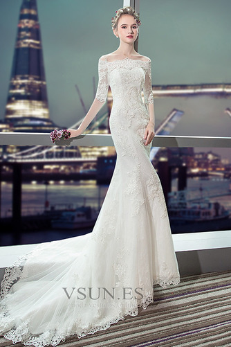 Vestido de novia Capa de encaje Cordón Abalorio Escote con Hombros caídos - Página 1
