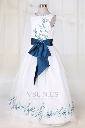Vestido niña ceremonia Blanco Organza Romántico Corte princesa Arco Acentuado - Página 3