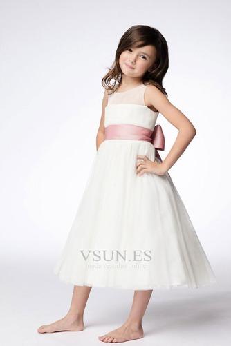 Vestido niña ceremonia Joya Arco Acentuado Sin mangas Formal Natural Hasta la Tibia - Página 1