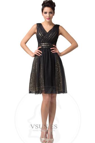 Vestido de graduacion Glamouroso Natural tul Hasta la Rodilla Corte-A Falta - Página 1