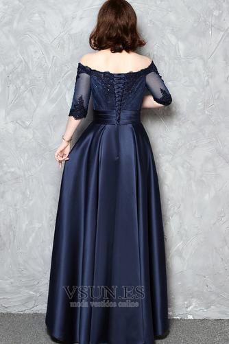 Vestido de noche Escote con Hombros caídos Satén Corte-A Cordón Apliques - Página 2