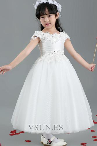 Vestido niña ceremonia Encaje Falta Natural Corte-A Manga corta Satén - Página 4