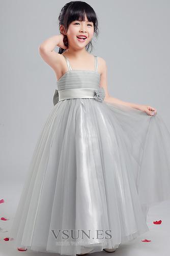 Vestido niña ceremonia Sin mangas Corte-A Arco Acentuado Elegante Hasta la Tibia - Página 1