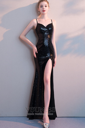Vestido de fiesta sexy Frontal Dividida Escote de Tirantes Espaguetis - Página 1