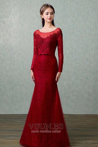 Vestido de noche Elegante Corte Recto Hasta el suelo Capa de encaje - Página 3