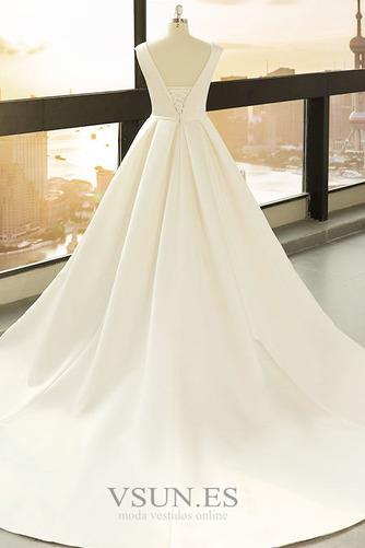 Vestido de novia primavera Baja escote en V Corte-A Drapeado Satén Escote en V - Página 2