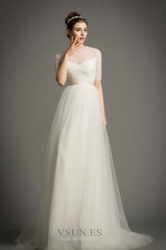 Vestido de novia Drapeado Natural primavera Corte-A Joya Cremallera - Página 1
