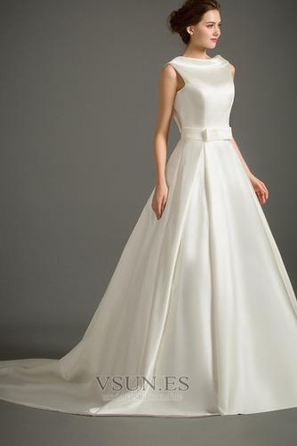 Vestido de novia Sin mangas Lazos Otoño Corte-A Natural Iglesia - Página 3