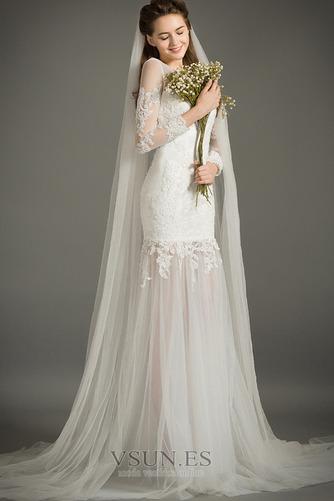 Vestido de novia Natural Abalorio Joya Capa de encaje Cremallera Camiseta - Página 3