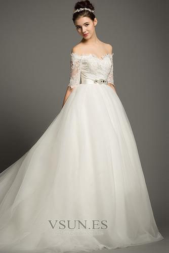 Vestido de novia Elegante Escote con Hombros caídos tul Apliques Hasta el suelo - Página 2