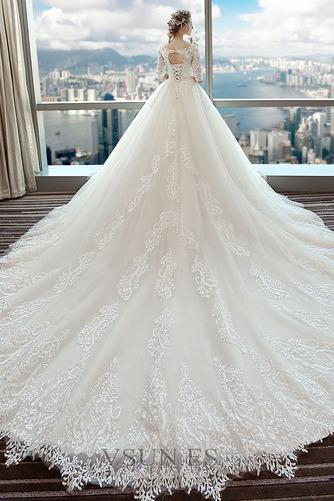 Vestido de novia primavera Cola Catedral Natural Cordón Apliques Mangas Illusion - Página 2