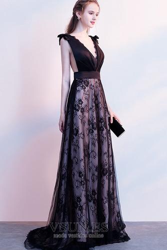 Vestido de fiesta Elegante Escote en V Sin mangas Capa de encaje Corte-A - Página 3
