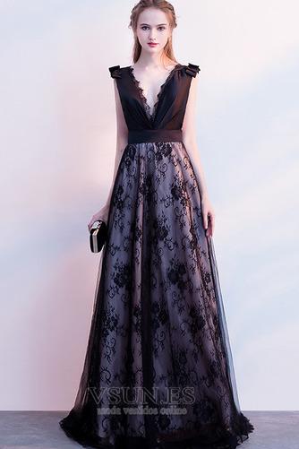 Vestido de fiesta Elegante Escote en V Sin mangas Capa de encaje Corte-A - Página 1