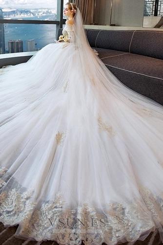 Vestido de novia Manga larga Cordón primavera largo Natural Corte-A - Página 5