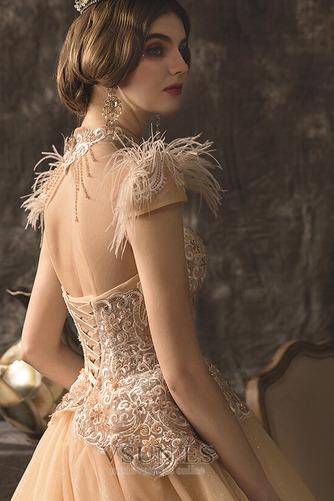 Vestido de novia Drapeado Natural Espalda con ojo de cerradura Manga corta - Página 5
