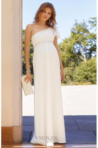 Vestido de novia Embarazadas Asimétrico Estilo Hasta el suelo Fuera de casa - Página 2