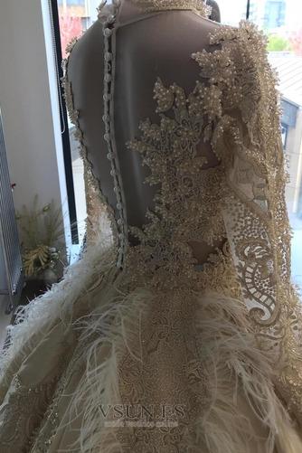 Vestido de novia Pura espalda Mangas Illusion Pera Escote con cuello Alto - Página 4