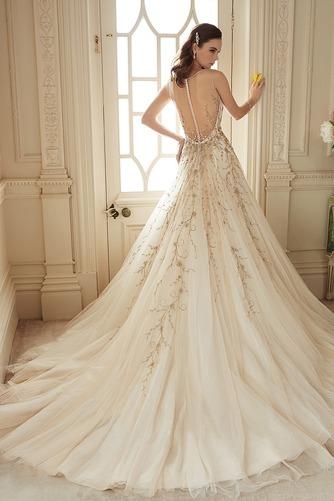 Vestido de novia Cremallera Otoño Sin mangas Natural Escote en V Apliques - Página 2