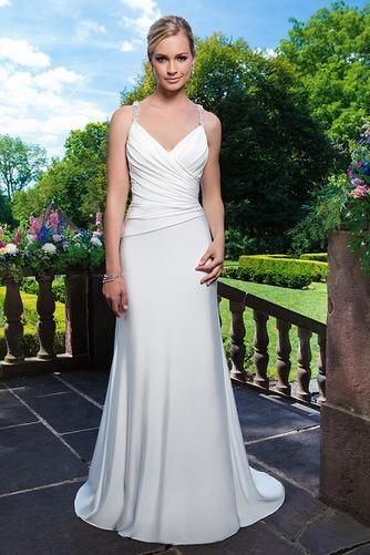 Vestido de novia Natural Gasa Escote de Tirantes Espaguetis Cola Capilla - Página 1