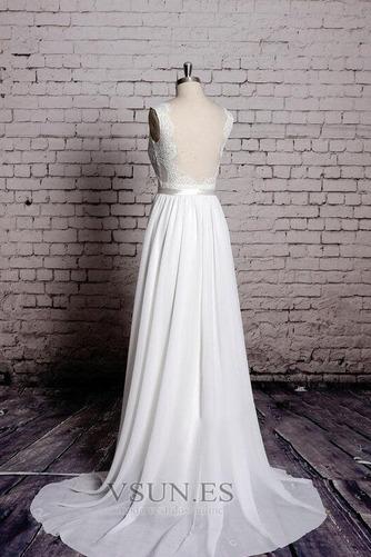 Vestido de novia Playa Apliques Sin mangas Corte-A Escote en V Encaje - Página 5