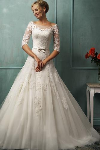 Vestido de novia Manga de longitud 3/4 tul Cintura Baja Barco Cremallera - Página 1