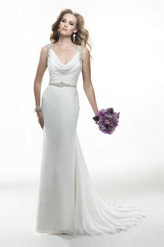 Vestido de novia Cremallera Sin mangas Cola Capilla Moderno Cristal - Página 1