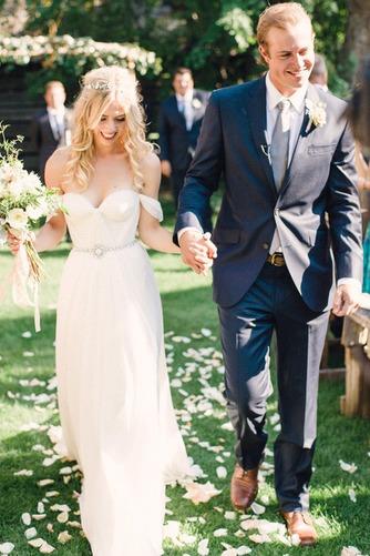 Vestido de novia Espalda Descubierta Playa Escote con Hombros caídos - Página 1
