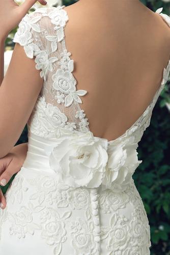 Vestido de novia Fajas Manga corta Otoño Espalda medio descubierto Cola Barriba - Página 3