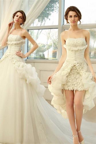 Vestido de novia Sin tirantes Sin mangas Asimètrico Apertura Frontal - Página 1