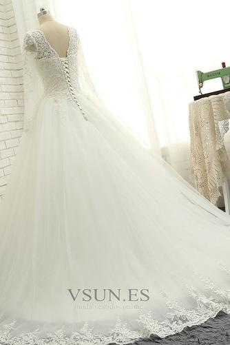 Vestido de novia Cordón Natural Encaje Manga larga Hasta el suelo Verano - Página 4