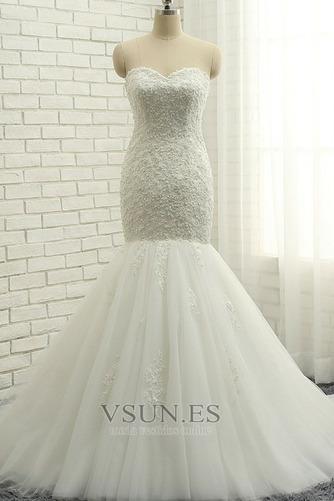 Vestido de novia Elegante Capa de encaje Apliques Sin mangas Corte Sirena - Página 1
