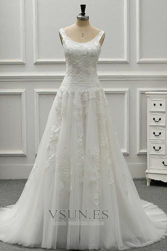 Vestido de novia vendimia Drapeado Corte-A Sin mangas Cola Catedral - Página 1