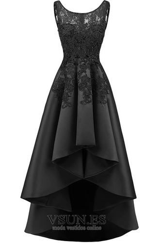 Vestido de cóctel Satén Cordón Abalorio Escote con Hombros caídos Moderno - Página 7