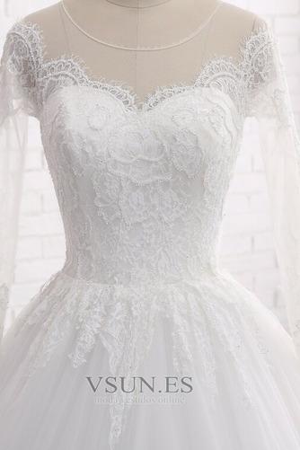 Vestido de novia Manga larga Joya Apliques Cremallera largo Corte-A - Página 4