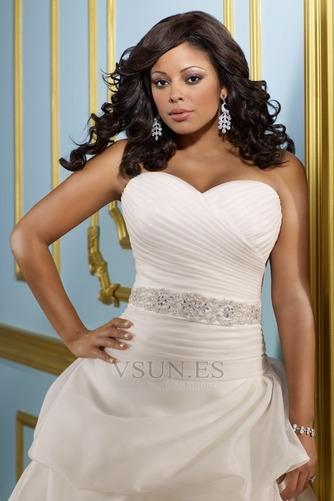 Vestido de novia Sin tirantes Hasta el suelo Blusa plisada Corte princesa - Página 3