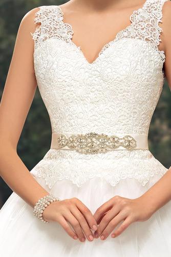 Vestido de novia largo Triángulo Invertido Sala Cinturón de cuentas - Página 5