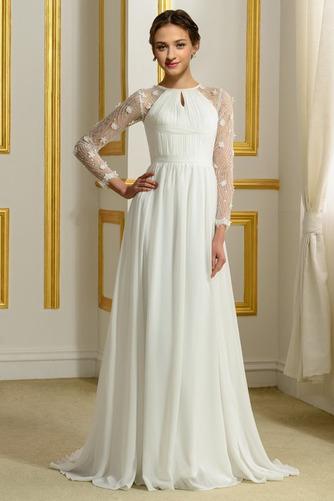 Vestido de novia Elegante Corte-A Natural largo Otoño Corpiño Acentuado con Perla - Página 1