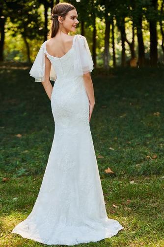 Vestido de novia Playa Corte Sirena Cola Barriba Cremallera tul Queen Anne - Página 3